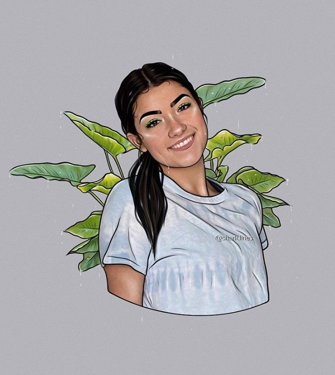 Pin By On A Charli D Amelio Girls Cartoon Art Celebrity Drawings Portrait Cartoon