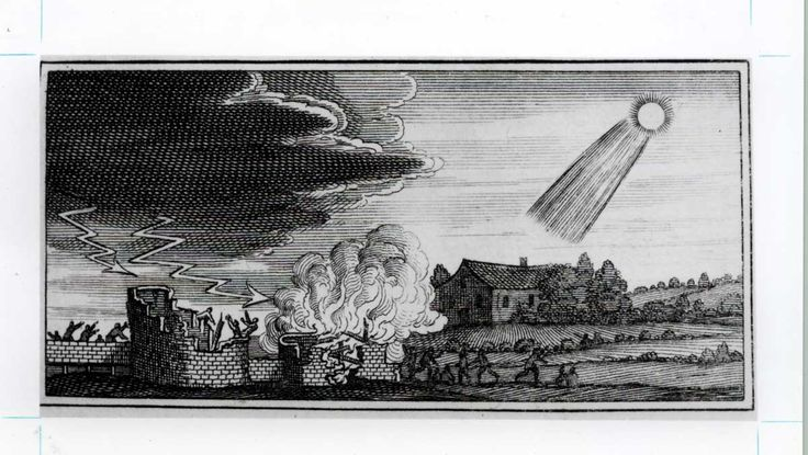 Woodcut showing destructive influence of a fourth century comet from Stanilaus Lubienietski's <i>Theatrum