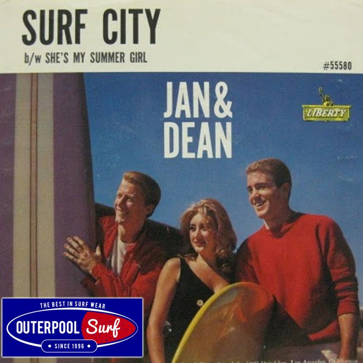 "While Jan and Dean weren't in the same creative league as the Beach Boys, their best work was just as sunny and tuneful as the Beach Boys' early hits; aside from being the first surf song to reach #1 nationally, ""Surf City"" is the perfect Kennedy-era beach anthem. The opening verse describes the singer's board-carrying 1934 Ford woody, while the second verse gives a brief outline of the promised land. #TBT #SurfCity #SurfSong"