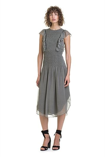 Shirred Gingham Midi Dress, Country Road $249.0  http://www.shopyou.com.au/ #womensfashion #shopyoustyle
