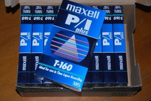 Case-of-10-Maxell-T-160-P-I-Plus-Blank-VHS-Time-Lapse-Video-VCR-Tapes-NEW