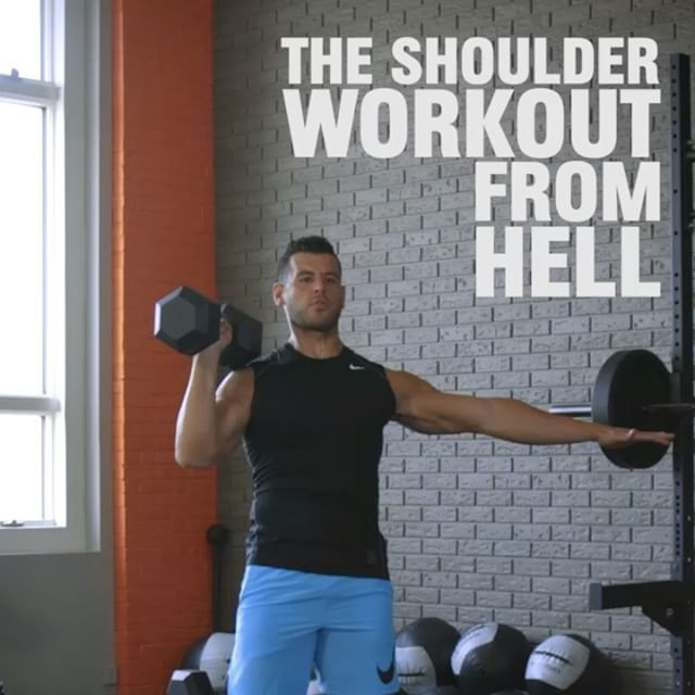 THE SHOULDER WORKOUT FROM HELL from MH fitness director BJ Gaddour (@bjgaddour)! This giant set of 4 straight shoulder moves will totally demolish your delts. All you need is a pair of dumbbells. Here's how it works:  1️⃣ Single-Arm Overhead Presses- max reps ➡️ Single-Arm Push Presses- max reps ➡️ Single-Arm Skier Swings- max reps ➡️ Suitcase Carries- max hold. That's 1 round. Do 2-3 rounds on each side with 30-60 seconds of rest between sides.  2️⃣ Double-Arm Overhead Presses- max reps ➡️…
