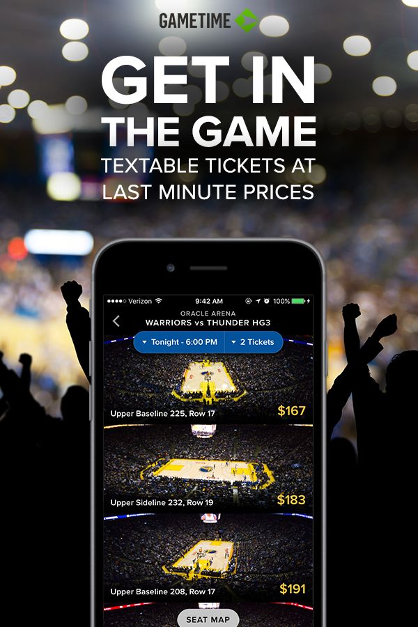 Find last minute NBA tickets (even after the game starts) when you download Gametime, a free app for iOS and Android. We analyze all of the potential seats and present you with the best values _ not an impossibly long list of choices. That way you can go from zero to inside in seconds.
