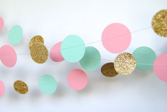 Paper Garland in Pink, Mint and Glitter Gold, Perfect for Bridal or Baby Shower, Pink Mint Gold Birthday, Pink Mint Gold Party