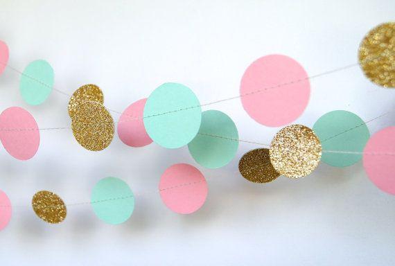 Garland, papier Garland in blozen, Mint en goud, bruids douche, Baby Shower, verjaardag Decor, roze en gouden verjaardag