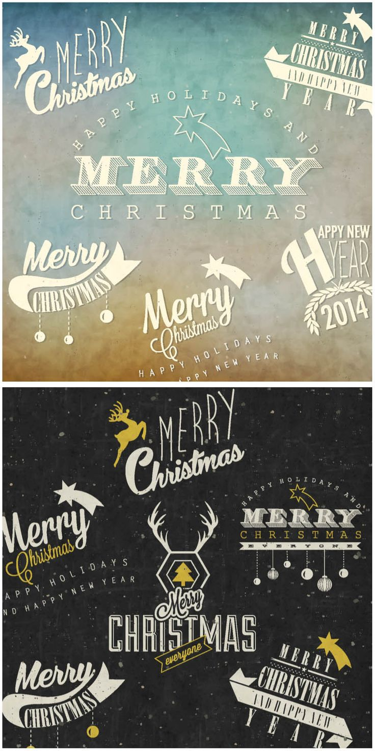 2 sets with vector retro Christmas labels with greetings and inscriptions for your cards and posters.