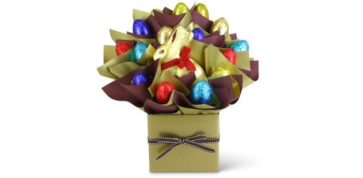 This beautifully presented chocolate bouquet is the perfect Easter gift idea for the special someone in your life. Packed with chocolate and a delicious looking Lindt bunny in the centre, what could make for a better gift than an Easter basket this April?  Like all of our gift baskets, delivery anywhere in Australia is included in the price. Send this chocolate bouquet anywhere in the country without having to pay any extra fees or hidden costs.