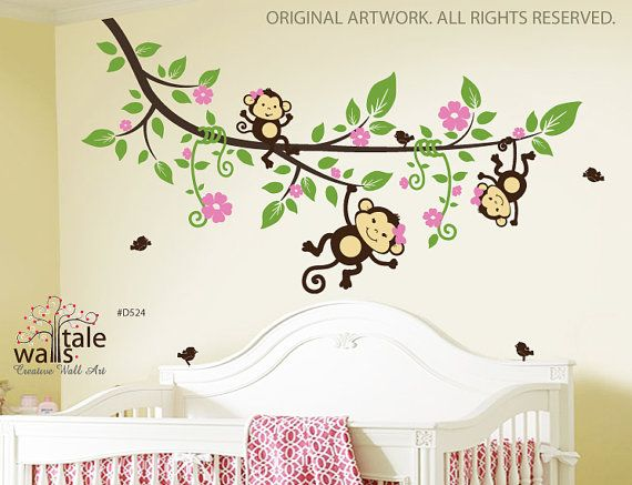 SALE- Large Tree branch with 3 monkey wall decals and 5 birds for jungle nursery theme for girl or boy on Etsy, $84.00