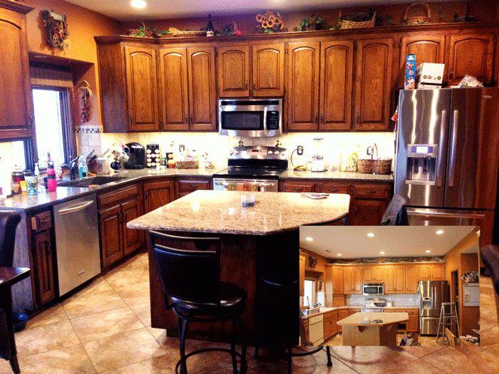 Cabinet Glazing: darkening oak cabinets | beaner kitchen