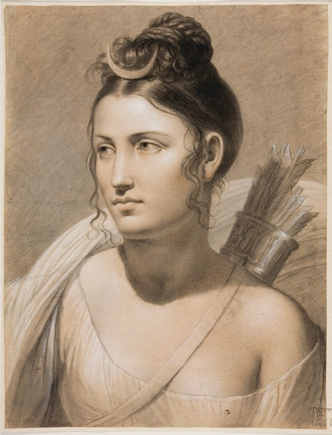 "A wonderful illustration of the ancient Greek goddess, Artemis by Flemish historical painter, Joseph-François Ducq.  The painting is entitled, ""Diana"" which is the Roman equivalent of Artemis (Ἄρτεμις), the goddess of hunting, wild animals, etc."