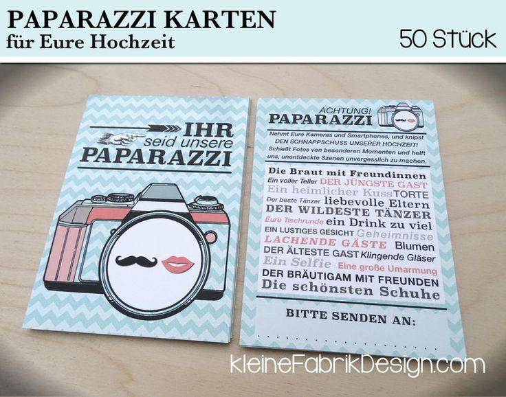 50 PAPARAZZI KARTEN für Eure Hochzeit MINT von KleineFabrik auf DaWanda.com