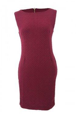Lace Detail Sheath Dress - Lace Detail Sheath Dress by Resthy menampilkan desain minimalis dengan detail lace di bagian pundak. Aksen ikat pinggang dapat memperlihatkan siluet tubuh dengan sempurna. - Katun kombinasi - Warna red