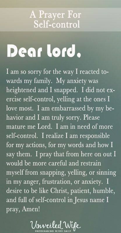 Prayer for self-control   https://www.facebook.com/ChristianTodayInternational/photos/10152586548574916
