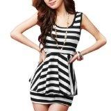 Allegra K Ladies Black White Stripes Flouncing Stretchy Summer Mini Dress XS