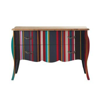 Wooden striped chest of drawers, multicoloured W 120cm - Neon