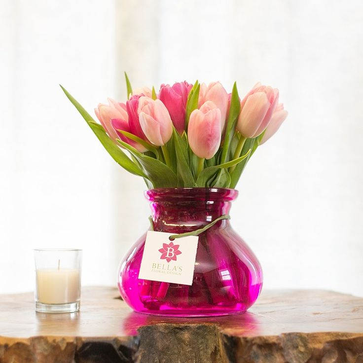 2 bunches of 2 colored pink tulips in a bright and charming