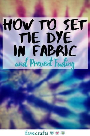 How to Set Tie Dye in Fabric | FaveCrafts.com Soak in vinegar water. Wash with 1/2c table salt and 1c vinegar