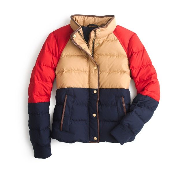 Color Block Ski Jacket J.Crew Navy Blue Gold Red