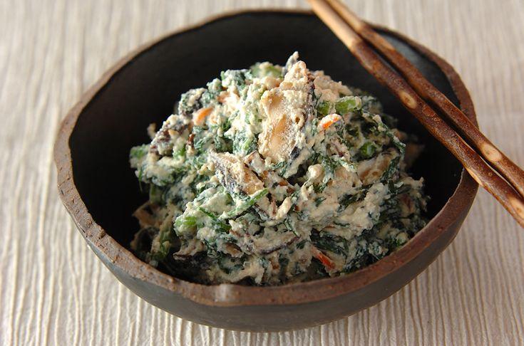 京のおばんざい 焼きシイタケと春菊の白和え【E・レシピ】料理のプロが作る簡単レシピ/2012.11.27公開のレシピです。