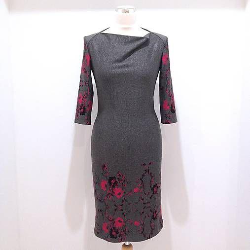 LuxuryCouture / Šaty Šedé s ružovými kvetmi