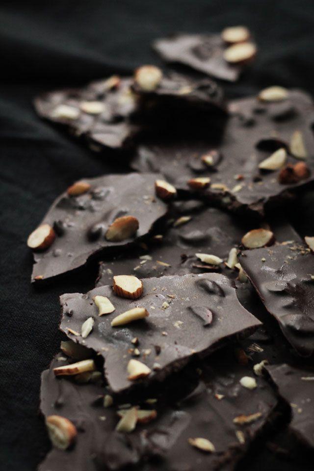 Coffee & Roasted Almond Chocolate Bark   I need to make this sooooooon!! Looks delicious :)