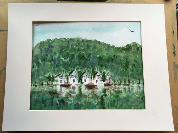 Scandanavian waterfront scene watercolour by KnottyThistle on Etsy