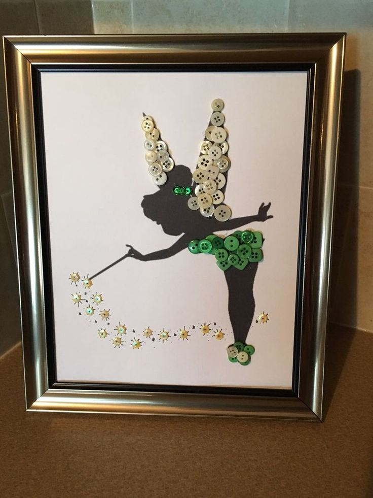 Disney Inspired Tinker Bell Silhouette Button Art In Frame. | eBay