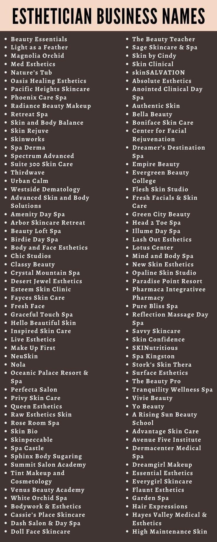 Spa Names Ideas Business Skin Care Makeup Business Names Esthetician Catchy Business Name Ideas