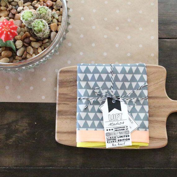 Hand Sewn Tea Towel in Geometric Print in Grey / by LOFTstudios, $25.00