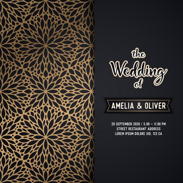 Free Eps File Decor Pattern With Wedding Invitation Card