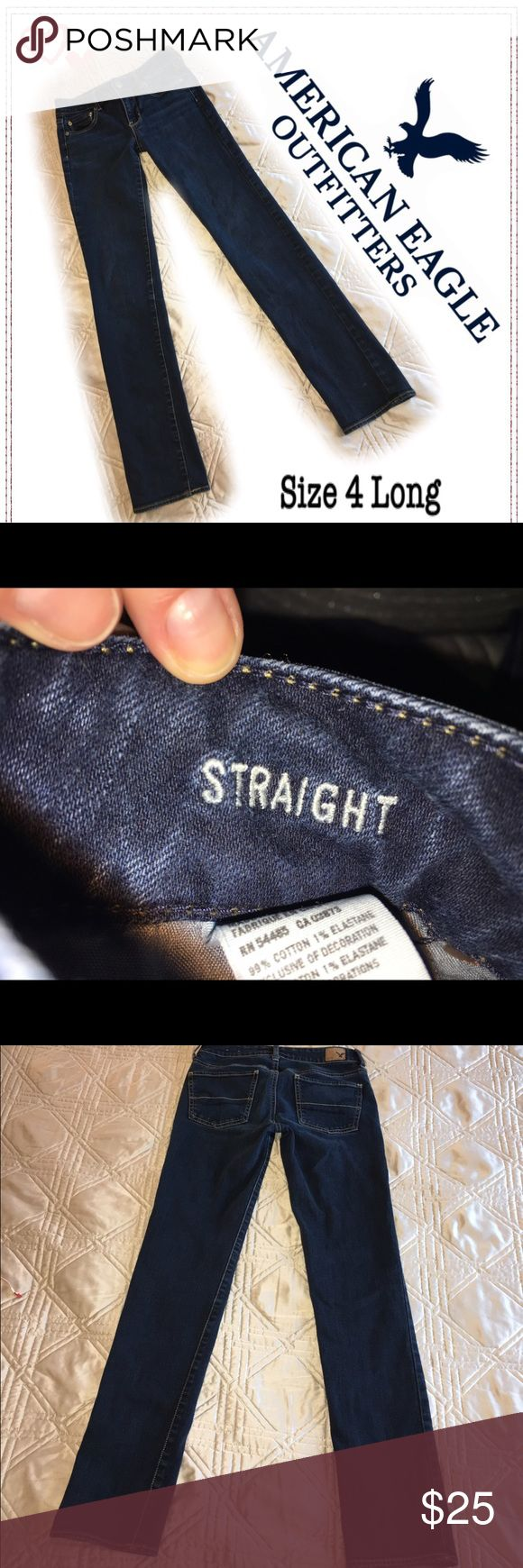 Excellent condition straight cut jeans Dark blue straight cut American Eagle jeans in size 4 Long. Barely worn - slight scuffing at pant leg cuff but otherwise they look new! Super comfy - your go to jeans for dressing up or dressing down :-) American Eagle Outfitters Jeans Straight Leg