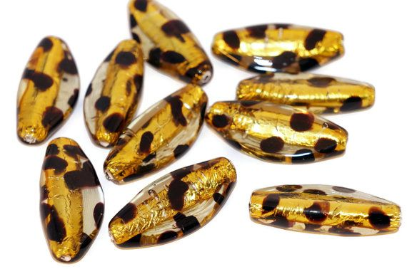 Leopard Dot Silver Oval Lampwork Czech Glass Handmade Beads Set Solid Silver 24K Yellow Black Oval Dotted Original Authentic 32mm by CzechBeadsExclusive, $6.54  #bead #beads #czech #czechbeads #lampwork #leopard #etsy #glass