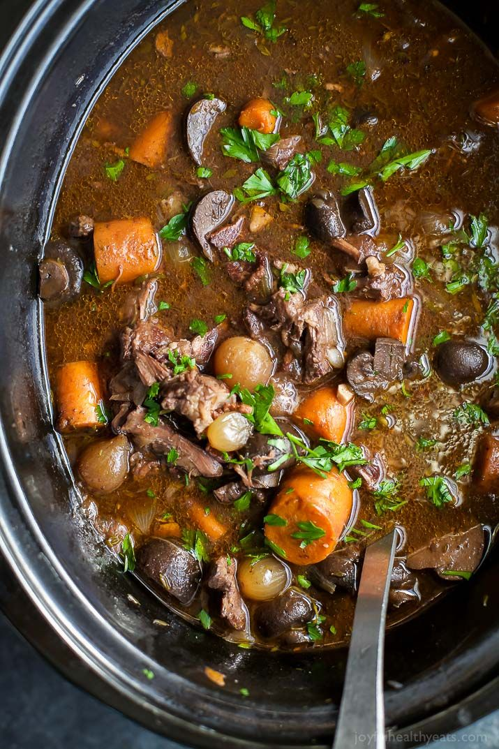 Channel your inner Julia Child with this easy Beef Bourguignon! A classic Beef Bourguignon recipe with a few tweaks but the kicker is this recipe is made in a slow cooker! | joyfulhealthyeats.com