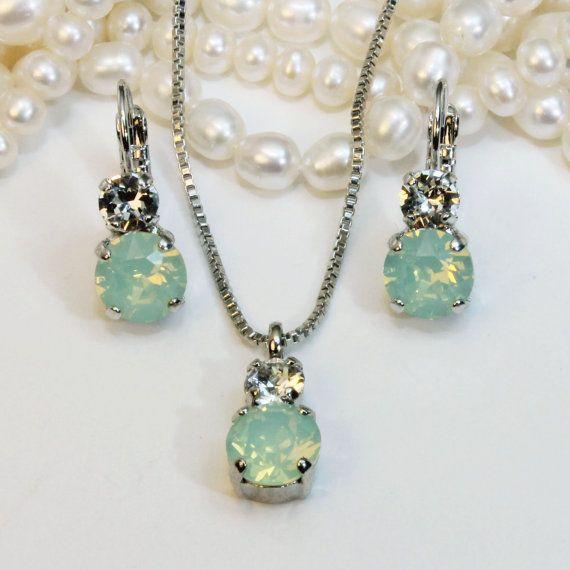 Mint Bridesmaid Jewelery Gift Set Necklace Swarovski by TIMATIBO