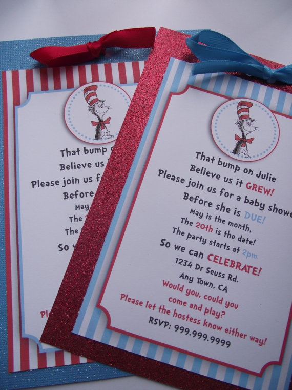 Dr Suess Cat in the Hat Handmade Birthday Party or Baby Shower Invitations. $29.50, via Etsy.