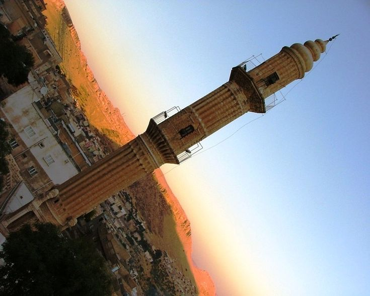 Minaret of the Sehidiye Camii. The mosque was constructed by Sultan Artuk Aslan on the year of 1214.