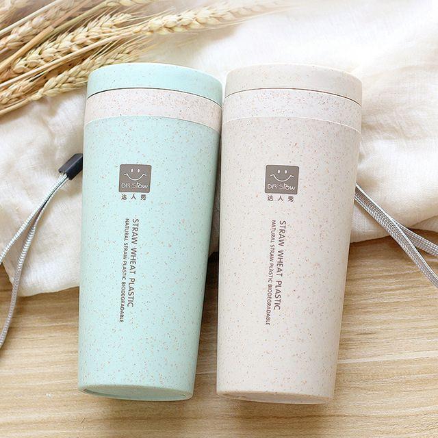 Paja de Trigo de 300 ml de Plástico de Doble Capa de Aislamiento Taza Portátil Taza Mano Taza Estudiante de la Cubierta de Protección Del Medio Ambiente