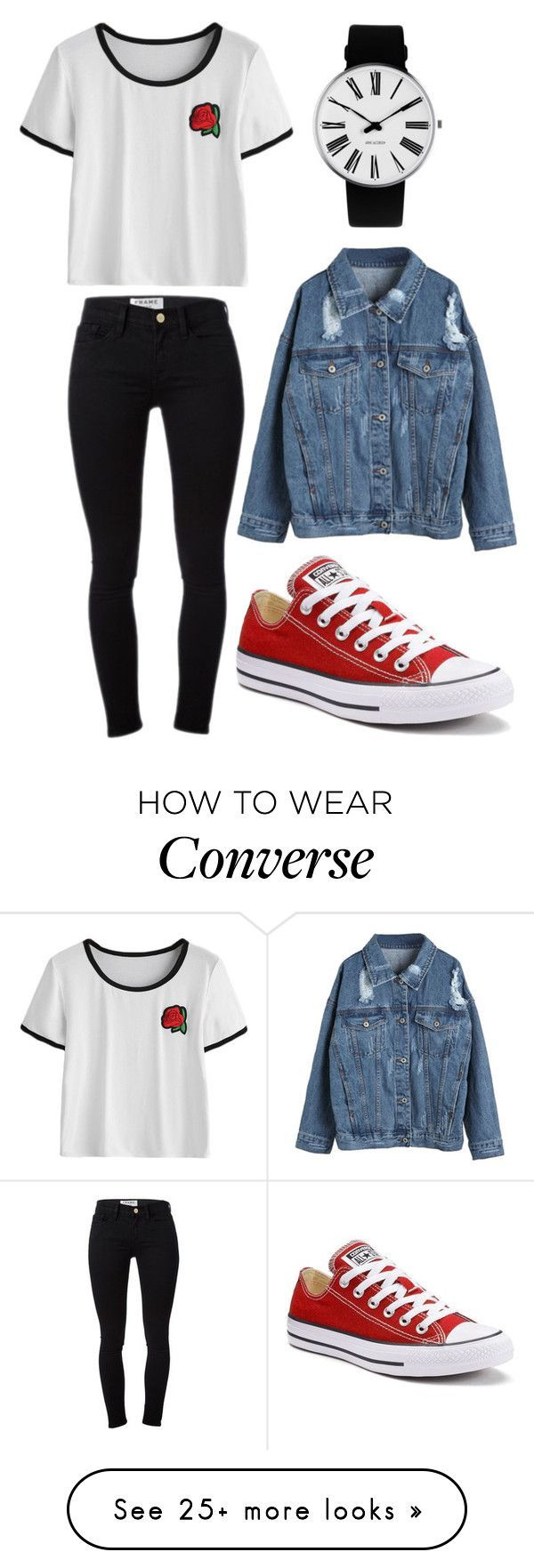 """""""Untitled #1312"""" by audreymarie172 on Polyvore featuring Frame, WithChic, Converse and Rosendahl"""