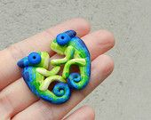 Hand made polymer clay cute GREEN-BLUE chameleon earrings
