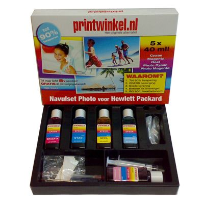 De HP Navulset foto kleuren van zijn extra voordelig. Met deze sets kunt u met gemak uw cartridges 8 tot 10x navullen!
