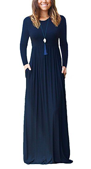3a436e095550 ESONLAR Women Long Sleeve Round Neck Casual Loose Long Maxi Dress with  Pocket at Amazon Women s Clothing store