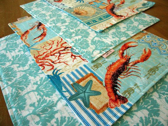 Blue and Coral Nautical Placemats 6 with by ItsHandmadebyArianne