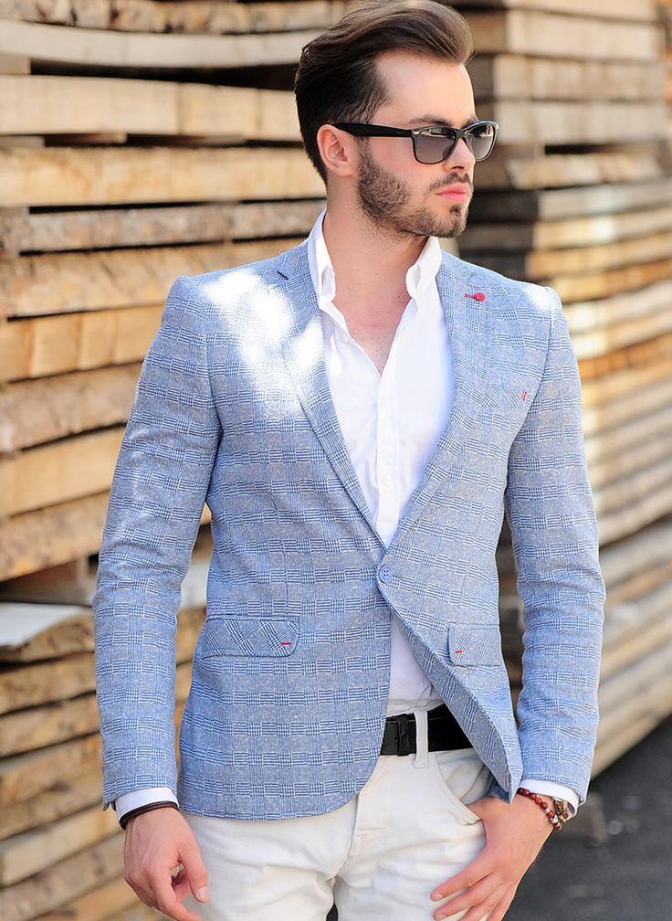 En Ucuz erkek #blazer kalın çizgili mavi - Kapıda Ödeme #ceket #vavingiyim #vavin