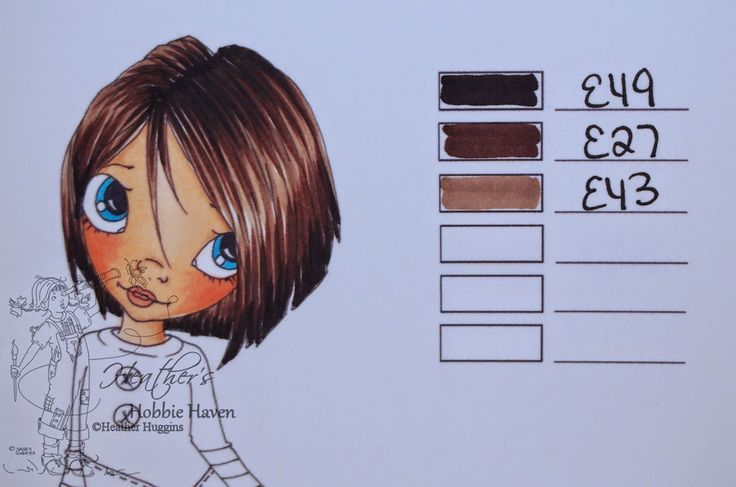 Copic Colouring Hair Brown Cardmaking Copic Hair