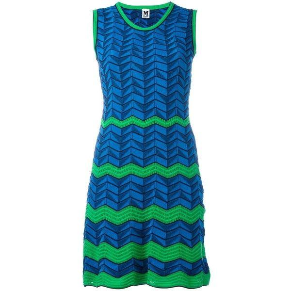 M Missoni Zig Zag Pattern Dress ($454) ❤ liked on Polyvore featuring dresses, blue dress, m missoni, zigzag dress, blue cotton dress and blue zig zag dress