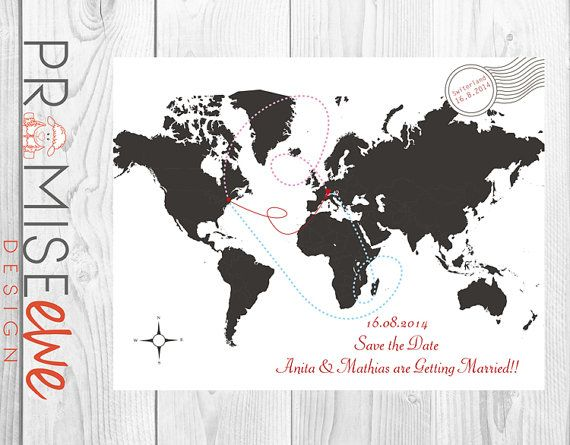 Save The Date Map Card by BethanDdesigns on Etsy, £10.50
