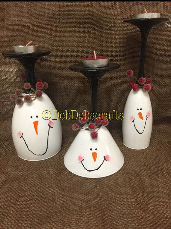 Snowman Christmas wine glass candle holder Christmas decorations for mantle Christmas Centerpiece candles Christmas gifts