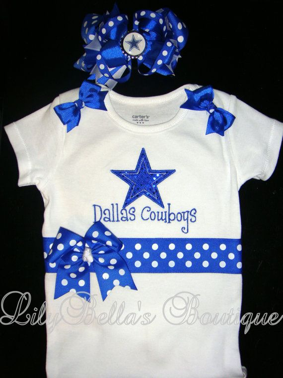 Baby girl monogrammed onesie and hair bow - Dallas Cowboys sports team  cheerleader outfit  ec477cf3a