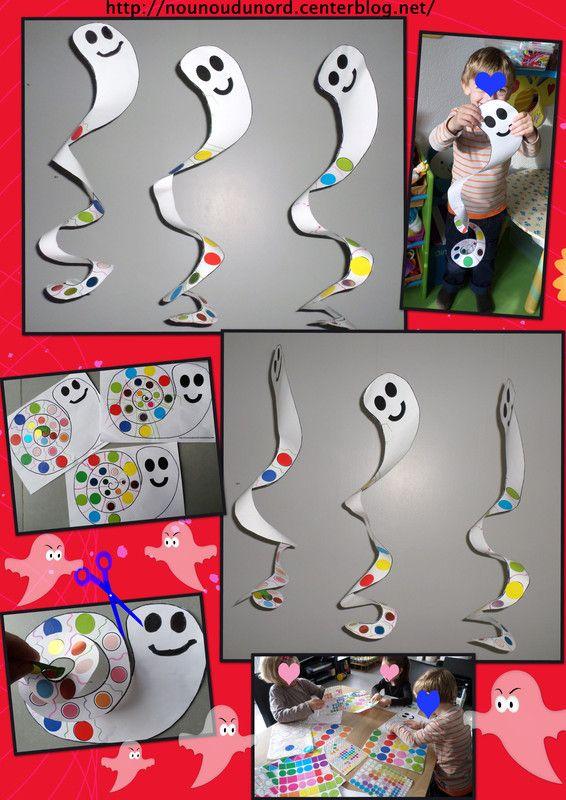 2013 Les fantômes tourbillonnants à gommettes réalisés par Lison, Annalisa et Gaspard, petite activité simple et rapide et qui fait plein d'effet, il suffit de coller des gommettes ou colorier la ...