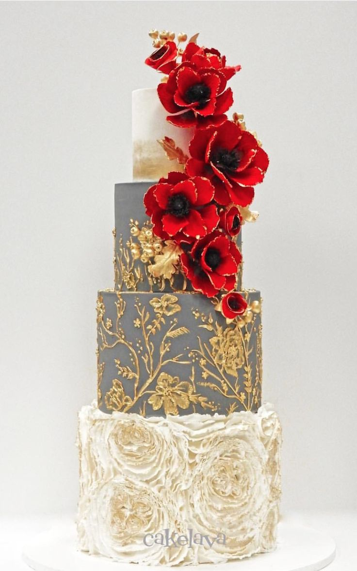 Grey gold and red carding cake